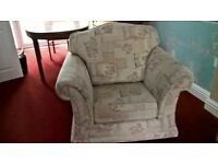 3 Piece Suite for sale. Cream colour in good condition. 1x 3 seater sofa and 2x arm chairs