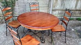 LOVELY DARK WOOD PLANKED EFFECT TABLE AND FOUR CHAIRS
