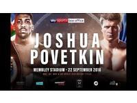 4 Joshua V Povetkin Lower Tier Tickets Wembley Stadium London 22/9/18