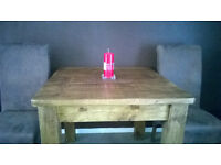 Rustic Style Solid Oak Dining Table and 4 Chairs