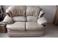 Free to good home: Cream 2 seater leather sofa