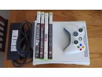 XBOX 360 Premium with Wireless adapter, one controller and 4 games inc Halo 3 and Battlefield 3