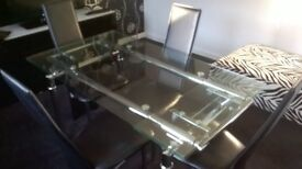 black high gloss side board with white glass top