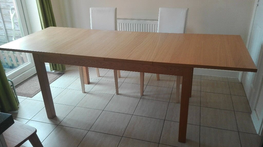 Extendable Ikea Bjursta Dining Table For 4 8 Seats With Henriksdal Chairs