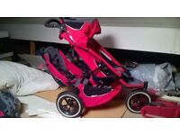 phil and teds double pram, a travel cot and a baby monitor for sale. In good condition