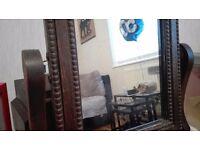 Oak wood Victorian Antique dressing table mirror