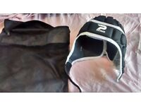 Patrick protective rugby head gear aged 9-10 with bag