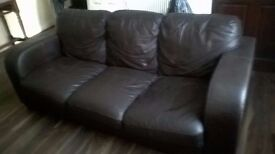 3 SEATER BROWN LEATHER SOFA - BARGAIN