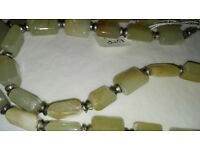 Real stones necklace with sterling silver finish