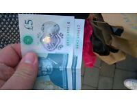 2x rare £5 notes with AK47-085616\17.