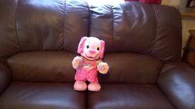 FISHER PRICE LETS PLAY AND DANCE PINK PUPPY