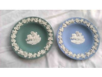 Two Wedgwood Jasperware pin dishes: Wedgwood blue and sage green