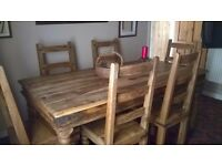 Rustic Wooden Dining Table with 6 Chairs and 2 separate coffee tables, lovely quality solid wood