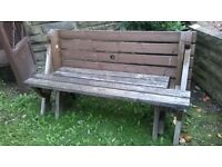 Rare wooden garden seat that converts into a 6 seat picnic bench