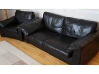 Two Piece Habitat Black Leather Sofas £150