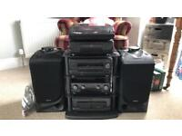Kenwood speakers, cassette deck, CD player and record player