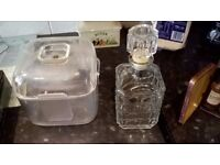 Ice Bucket and Glass Decanter