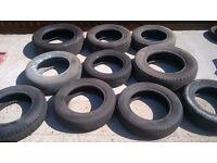 11 Car tyres job lot various sizes