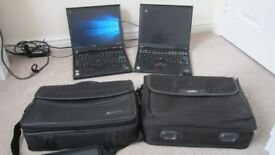 2 x Laptops IBM Thinkpad Lenovo T60p and T42 with laptop bags Kensington Lock Mouse