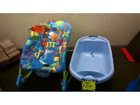 BABY BOUNCER 2IN1 AND BABY BATHtub