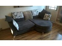 chocolate brown chaise longue sofa and cuddle chair