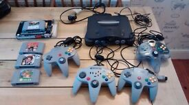Nintendo 64 Games Console plus 4 controllers and 4 games
