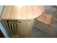 FOLDING TABLE, with 4 STOWAWAY CHAIRS, AS NEW. 120cm full length.