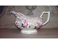 Royal Crownford Vintage 22kt Gold Chintz and Floral Gravy Boat