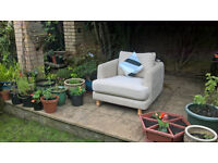 Ex-display Designer Cream Natural Fabric Arm Chair with matching cushion.