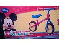 "mickey mouse balance bike 10"" wheels brand new & boxed"