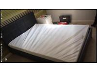 Black faux leather double bed with mattress