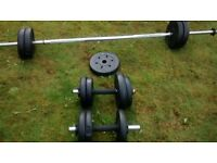 A fantastic starter pack which incudes weights bar, mixed plates over 20kg and dumbbell bars