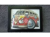 CLASSIC VW CAMPER VAN FRAMED PICTURES