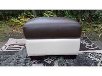 Ex-display Jupiter Brown and Cream Leather Storage Footstool.