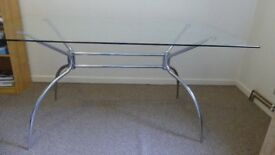 Kitchen/Dining Glass Topped Table As New - W150xD90xH75cm