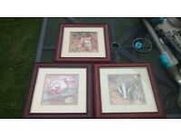 3 animal country scene picture/paintings
