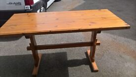 Solid pine rectangular table also have dining chairs