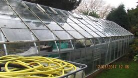 LARGE ALUMINIUM GREENHOUSE WITH FULL INTERIOR ALUMINIUM STAGING AND 16 FOOT HEATED MAT