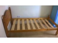 Single Solid Wooden pine bed with mattress