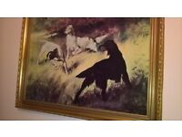 vintage gold framed dog painting