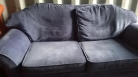 2 seater blue fabric sofa
