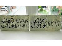 Two Mr&Mrs hanging signs