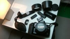 Canon EOS 10 with additional 75-300mm lens, flash, accessories, bag and manuals