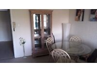 ** LOVELY TABLE & CHAIRS WITH MATCHING DISPLAY CABINET - ABSOLUTE BARGAIN **