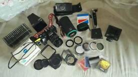 Vintage Minolta 7000AF camera and accessories