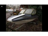 Speedboat and strong galvanised boat trailer