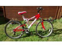 Red/ Silver mountain bike, Terrain Illusion.