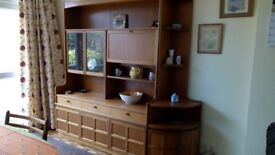 Vintage Nathan Illuminated Wall Unit with Cocktail Cabinet, Glazed Display Cabinet and Corner Unit
