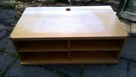 Wide TV light wood stand, good condition