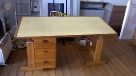 Adjustable height pine desk with drawers 149cm long, 69 cm deep, 72 cm high (adjustable)